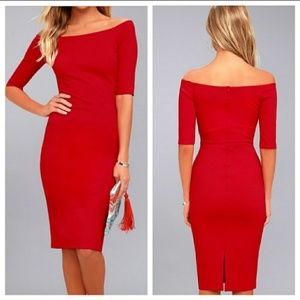 Lulus The Girl Cant Help It Red Bodycon Midi Dress
